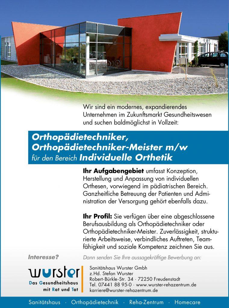 Orthopädietechniker, bzw. Orthopädietechniker-Meister gesucht