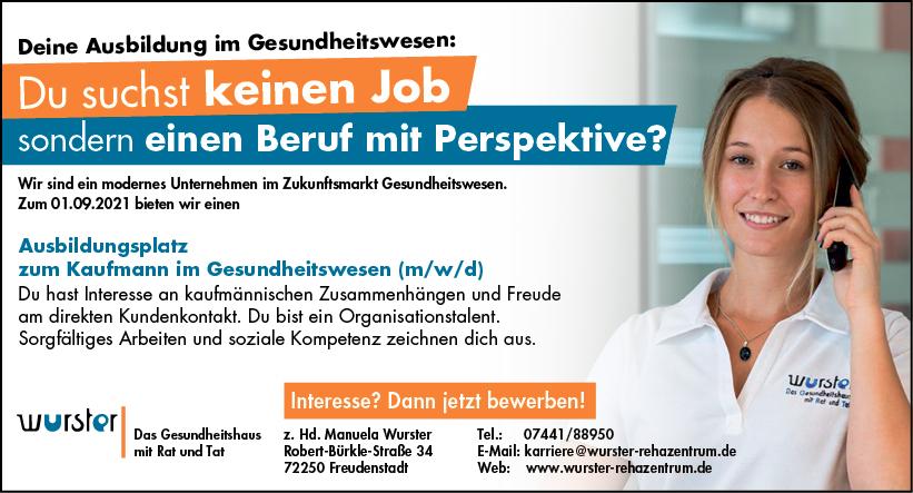 Anzeige Angebot Ausbildungsplatz Kaufmann Kauffrau im Gesundheitswesen