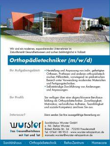 Stellenanzeige Orthopädietechniker